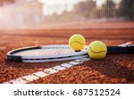 tennis game. tennis ball with... | Shutterstock . vector #687512524