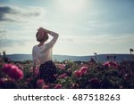 Stock photo flower series pink field crimea the village of turgenyevka a country girl enjoys the sunset 687518263