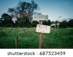 Keep Out Signs Barring Entry O...