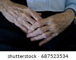 elderly woman's hands | Shutterstock . vector #687523534