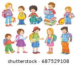 back to school. cute... | Shutterstock . vector #687529108