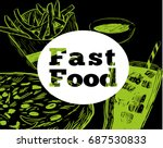 hand drawn sketch fast food....   Shutterstock .eps vector #687530833