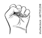 sketch drawing fist hand... | Shutterstock .eps vector #687531208