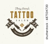 tattoo studio emblem. hand... | Shutterstock .eps vector #687534730