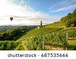 vineyards with hot air balloon... | Shutterstock . vector #687535666