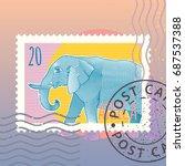 elephant royal striped line art.... | Shutterstock .eps vector #687537388