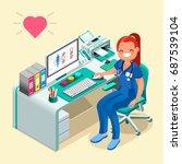 female doctor or nurse smile... | Shutterstock .eps vector #687539104