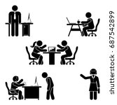 stick figure office poses set.... | Shutterstock .eps vector #687542899