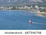 Small photo of VANCOUVER - July 31,2017: Wide on a Spill Response vessel used to help contain marine oil spills seen heading out of Vancouver Harbor near North Vancouver, British Columbia on July 25, 2017.