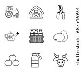 Farmer Equipment Icons Set....