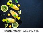 summer dessert with lemon and... | Shutterstock . vector #687547546