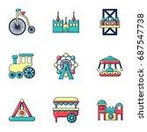 entertainment park icons set.... | Shutterstock .eps vector #687547738