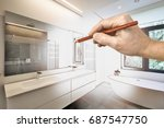 drawing renovation of a luxury... | Shutterstock . vector #687547750