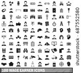 100 wage earner icons set in... | Shutterstock .eps vector #687552580
