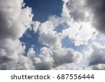 blue sky background with fluffy ... | Shutterstock . vector #687556444