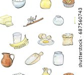 hand drawn painted set of ... | Shutterstock . vector #687560743