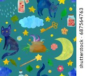 magical elements seamless... | Shutterstock .eps vector #687564763