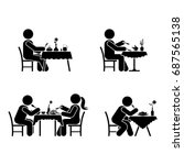 eating and drinking pictogram.... | Shutterstock .eps vector #687565138