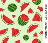 red watermelon. seamless... | Shutterstock .eps vector #687565150
