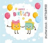 happy birthday greeting card.... | Shutterstock .eps vector #687568900