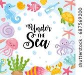 under the sea card. vector... | Shutterstock .eps vector #687569200