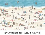 seamless banner of tiny people... | Shutterstock .eps vector #687572746