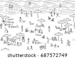 seamless banner of tiny people... | Shutterstock .eps vector #687572749