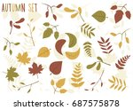 autumn icon set with leaves on...