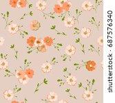 vintage floral pattern. cute... | Shutterstock .eps vector #687576340
