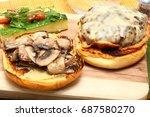 gouda cheeseburger and summer... | Shutterstock . vector #687580270