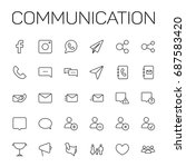communication icons set on...