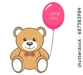toy bear with air balloon and... | Shutterstock .eps vector #687583984