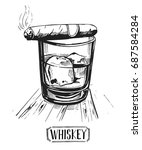 a glass of whiskey with ice and ... | Shutterstock .eps vector #687584284
