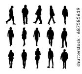 set of silhouette of people... | Shutterstock .eps vector #687585619