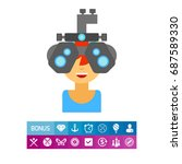 optometrist at work icon | Shutterstock .eps vector #687589330