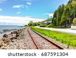 railroad with saint lawrence... | Shutterstock . vector #687591304