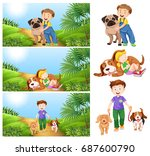 boy and girl with pet dogs... | Shutterstock .eps vector #687600790