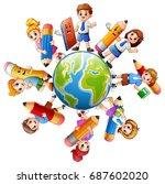 vector illustration of children ... | Shutterstock .eps vector #687602020