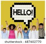 kids say hello hi greeting... | Shutterstock . vector #687602770