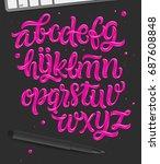 daring vivid pink font in 80'... | Shutterstock .eps vector #687608848