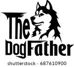husky cartoon with text   Shutterstock .eps vector #687610900