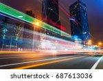 illuminated modern skyscrapers...   Shutterstock . vector #687613036