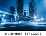 illuminated modern skyscrapers... | Shutterstock . vector #687613078