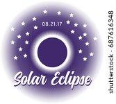 solar eclipse. the dark disk of ... | Shutterstock .eps vector #687616348