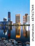 dalian city waterfront downtown ... | Shutterstock . vector #687617644