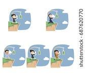 businesswoman is chasing money...   Shutterstock . vector #687620770