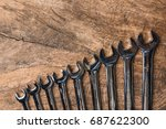 top view of group of wrench... | Shutterstock . vector #687622300