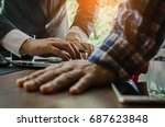 business partners discussing... | Shutterstock . vector #687623848