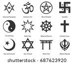 icon set of world religious... | Shutterstock . vector #687623920