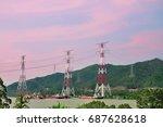 high voltage post. high voltage ... | Shutterstock . vector #687628618